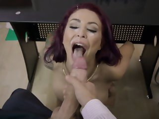 Superb office facial for busty Monique Alexander