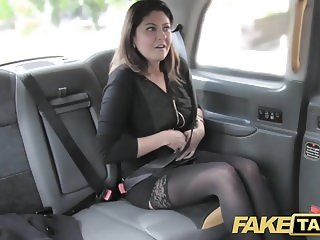 Fake Taxi big facial cum shot for brunette in stockings