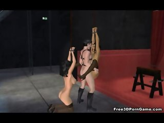 Tied up 3D cartoon brunette getting fucked hard