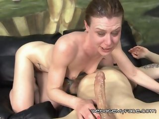 Ginger Gets Teary Eyed From Throating Fat Cock